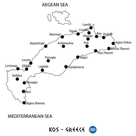 Island of Kos in Greece map art on white background Illustration