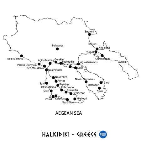 Peninsula of Halkidiki in Greece map art on white background
