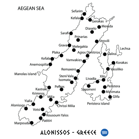 Island of Alonissos in Greece map art on white background