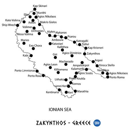 Island of Zakinthos in Greece map art on white background
