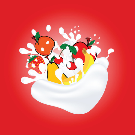 Fruit in milk illustration art on red background