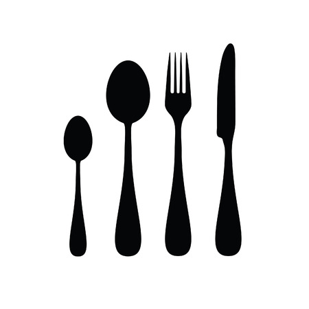 Cutlery silhouette in black color on white background.
