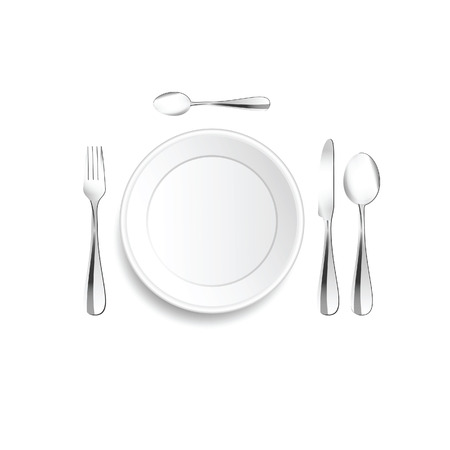 Plate and cutlery setting in silver illustration on white background. Çizim
