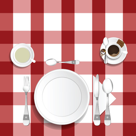 Table for lunch with coffee and tea illustration set two Illustration