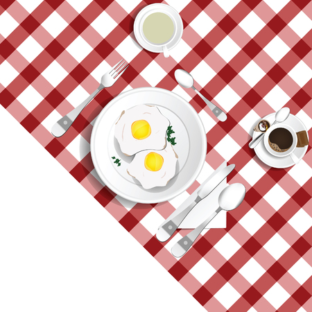 Table for lunch with eggs illustration set two