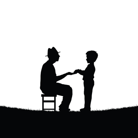 Man sitting on a chair and playing with a child illustration Ilustração