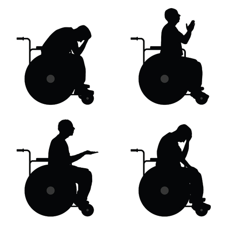man in wheelchair  vector silhouette on white background