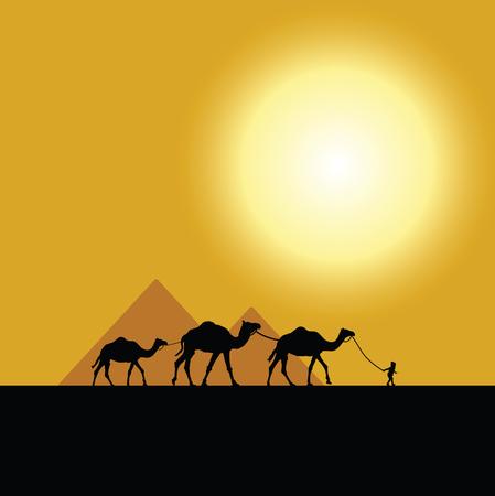 Pyramid egypt illustration with bright sun and camels. Illusztráció