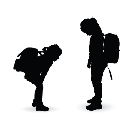 children silhouette with school bag on white background