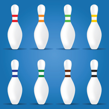 Bowling pin in different color illustration on blue backdrop