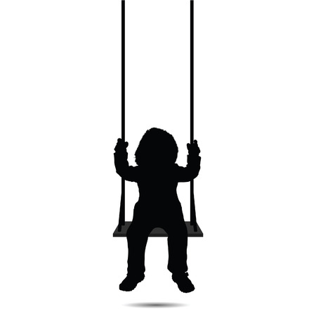Silhouette of a child swinging on a white background