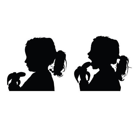 Child eat banana black vector silhouette on white