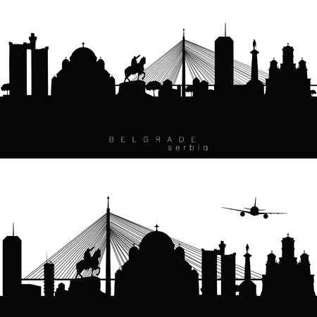 Belgrade panorama with buildings and statue silhouette on white background. Vettoriali