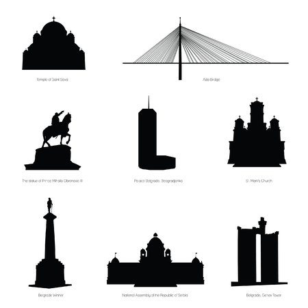 belgrade most famous buildings and statue black silhouette Vectores