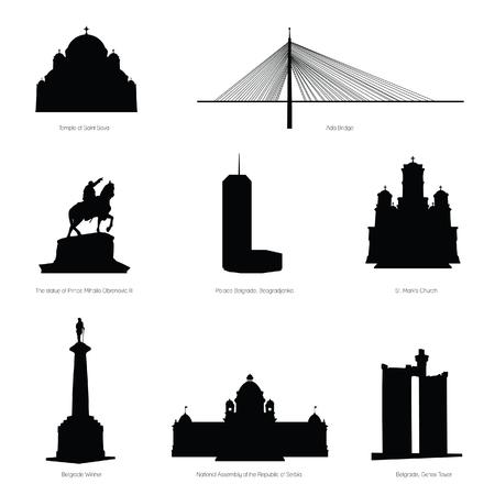 belgrade most famous buildings and statue black silhouette Vettoriali