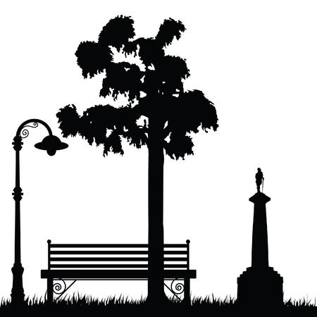 Belgrade park Kalemegdan wih Belgrade Winner statue illustration