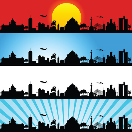 belgrade panorama vector illustration with sunset and blue sky