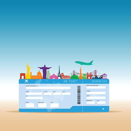 Air ticket travel illustration in colorful.