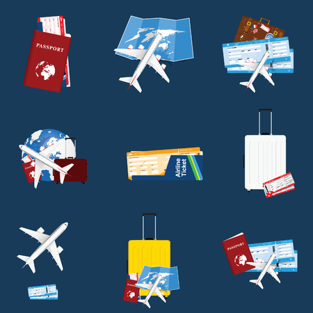 air ticket travel sign illustration on blue background