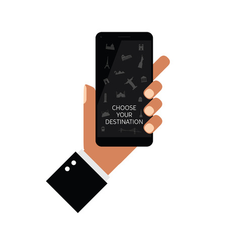 choose your destination icon on smartphone in hands art illustration  イラスト・ベクター素材