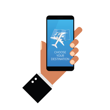 choose your destination on smartphone in hands art illustration