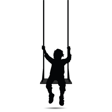 child swinging black vector silhouette three on white