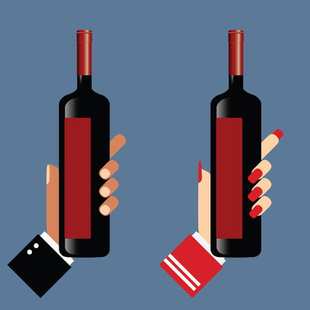 hand holds the wine bottle art vector illustration Imagens - 100910073