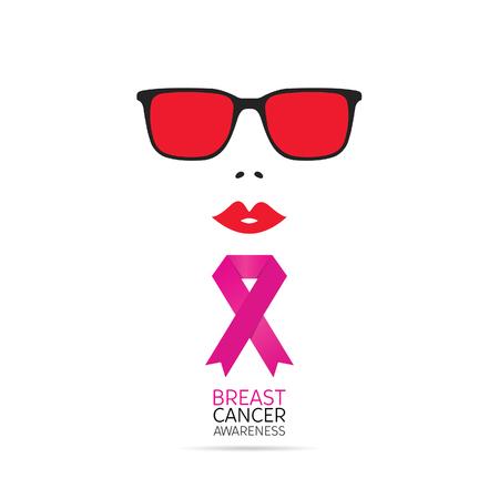 Brest cancer awareness symbol with woman face art illustration Illustration