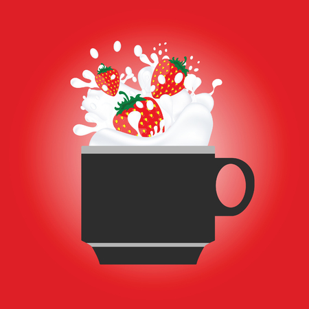 coffee cup with strewberry red color illustration