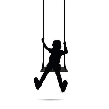child happy silhouette on swing two on white Ilustrace