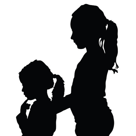 children silhouette illustration in black color Иллюстрация