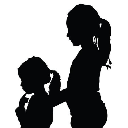 Ilustración de silueta de niños en color negro.