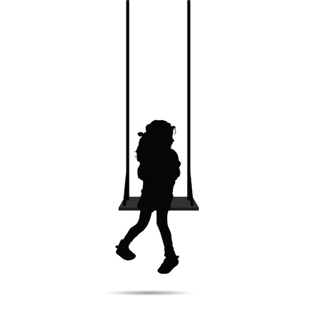 child silhouette sitting on swing black on white background Ilustrace