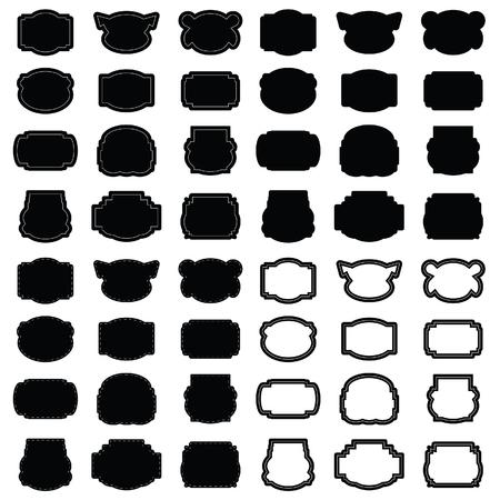frame en banner vector in zwart silhouet
