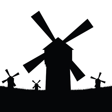 windmill silhouette in black with grass vector Reklamní fotografie - 119058478