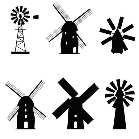 Moulin à vent icône silhouette objet ancien et rétro Vecteurs