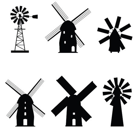 Windmühle Silhouette Symbol altes und Retro-Objekt Vektorgrafik