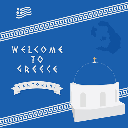 welcome to Santorini art with Greek blue color in background