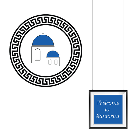 welcome to Santorini with picture frame illustration Illustration