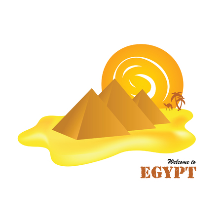 egypt pyramids with sun and camel vector illusration