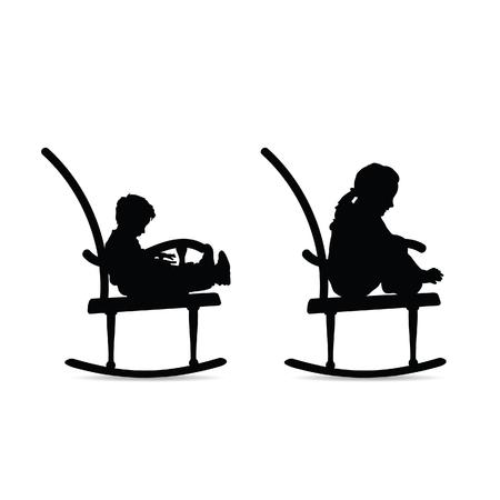 children black silhouette on the rocking chair Foto de archivo - 119222621