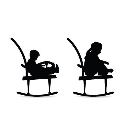children black silhouette on the rocking chair