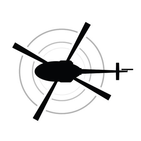 helicóptero icono vector silueta negra ejército transporte