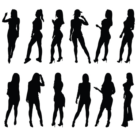 girl silhouette posing set one vector in black color