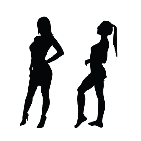 girl silhouette posing set two vector in the black