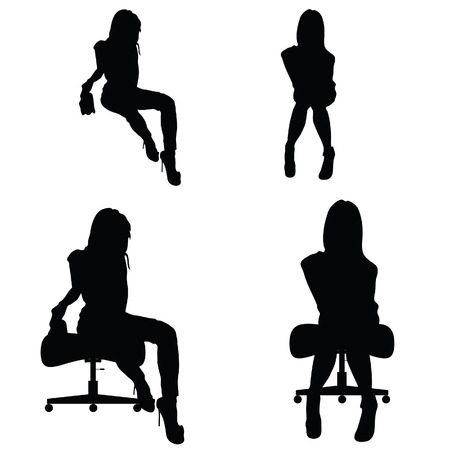 girl silhouette sitting on the chair and posing  イラスト・ベクター素材