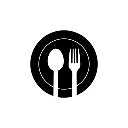 spoon and fork on the plate icon vector