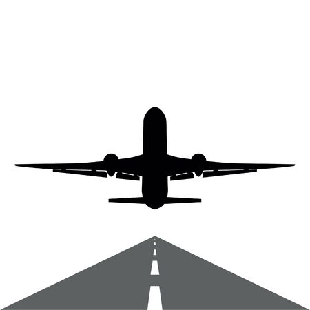 plane silhouette gets off the runway on white Stock Illustratie