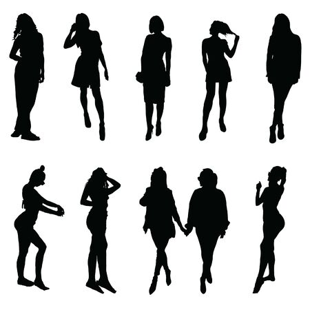 girl silhouette posing set three on white background