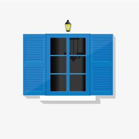 greek blue window vector art illustration with lamp 일러스트